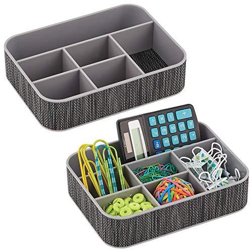 mDesign 2er-Set Schreibtischablage aus Kunststoff – praktische Sortierbox für Schreibwaren und Büroartikel – Sortimentskasten mit je 6 Fächern – grau/schwarz