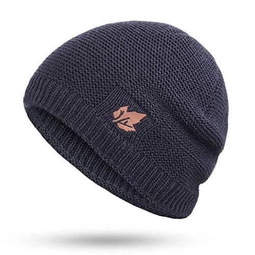 Nuevos Sombreros de Punto de Invierno para Hombres y Mujeres, Engrosamiento cálido al Aire Libre más Gorros de Invierno Sueltos de Terciopelo, Skullies, esquí de Invierno, Hueso Masculino-Navy B