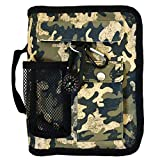Camo Medium Book and Bible Cover for Men with Compass Carabiner Camouflage Book Supplement for Women Case