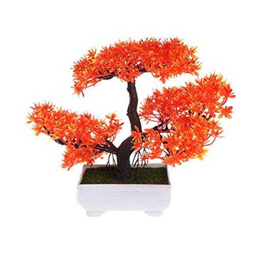 qiuxiaoaa Emular Bonsai Boda Flores Artificiales Decorativas Plantas de Maceta Falsas Adornos Plantas en Maceta Naranja