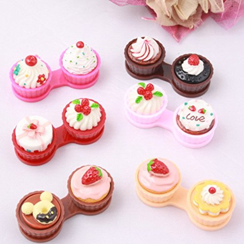 YQLM Nette Cartoon-Paar-Box-Kuchen Crream Form Kontaktlinsen Box (Rosa)