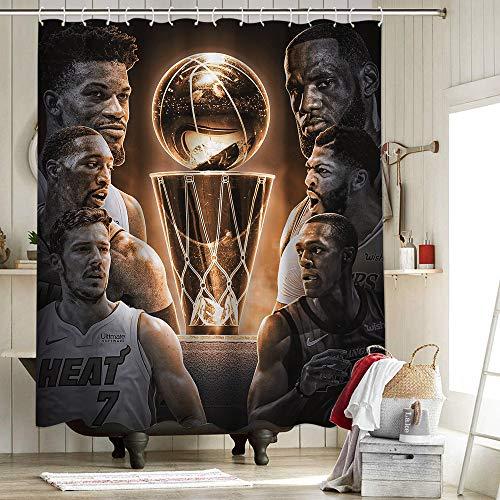 Los Angeles Lakers Championship Anthony Davis Cortinas de ducha Personalidad Impermeable Tela de poliéster Cortina de ducha Set Lebron James King Crown Art Sports Player Miami Heat 72x72 pulgadas