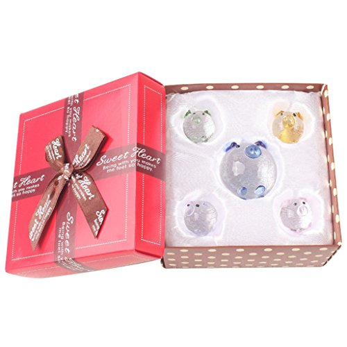 Jaswass Set of 5 Crystal Pig Figurine/Mini Pig Collectible Statue Perfet for Decoration with Gift Box (Mixed Color)