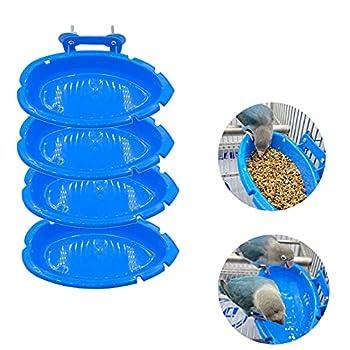 Pumpumly Lot de 4 mangeoires pour oiseaux - Boîte de bain à suspendre pour cage de perroquet - Baignoire à oiseaux - Jouet pour animal domestique - 10 x 18 x 4 cm