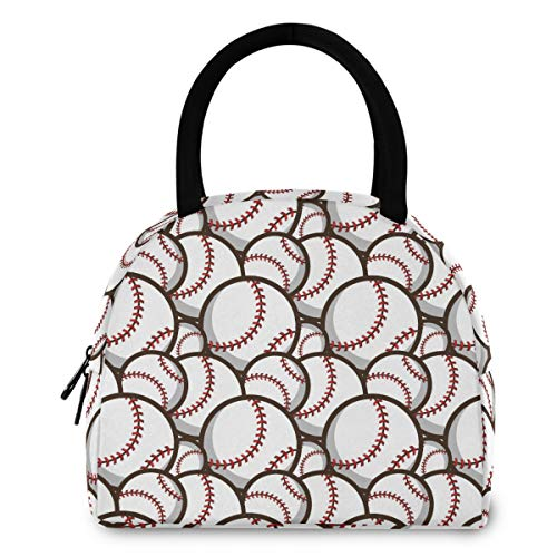 ZzWwR Trendy Baseball Pattern Reusable Lunch Tote Bag with Front Pocket Zipper Closure Insulated Thermal Cooler Container Bag for Man Women Work Picnic Travel Beach Fishing
