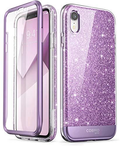 i-Blason Cover iPhone XR, Custodia Brillantini e Protezione Schermo Integrata [Serie Cosmo] Glitter Case Compatibile con Apple iPhone XR 2018, Viola