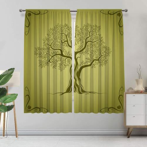 Alandana Cortina de color verde oliva hecha a medida, silueta de olivo mediterráneo con marco ornamental, juego de 2 paneles, cada panel de 152,4 cm de ancho x 228,6 cm de largo, verde oliva