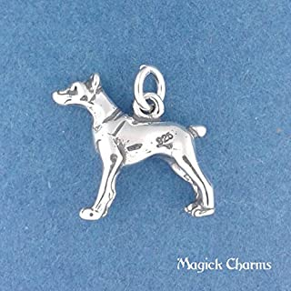 925 Sterling Silver 3-D Doberman Pinscher Dog Charm Pendant Jewelry Making Supply, Pendant, Charms, Bracelet, DIY Crafting by Wholesale Charms