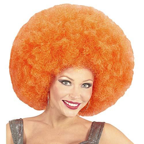 Widmann 04677 Afro pruik, uniseks, volwassenen, oranje, één maat