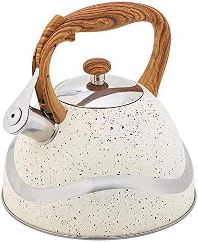LXDZXY Kettles,3.5L Stainless Steel Whistling Tea Food Grade Tea Pot with Wooden Handle Nylon Handle for Stovetop Suitable 22X25Cm