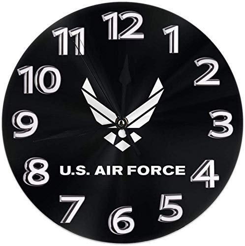 Kncsru Reloj de Pared Relojes de Pared Redondos silenciosos sin tictac, Relojes con Logotipo de la Fuerza Aérea Reloj de Escritorio silencioso analógico de Cuarzo con Pilas