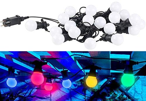 Lunartec Lichterkette Birnenform: Party-LED-Lichterkette m. 20 LED-Birnen, 6 Watt, IP44, 4-farbig, 9,5 m (Partybeleuchtung Glühbirnen)