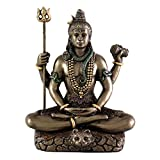 Top Collection Hindu God Lord Shiva in Meditation Bronze Finish Figurine Sculpture Statue