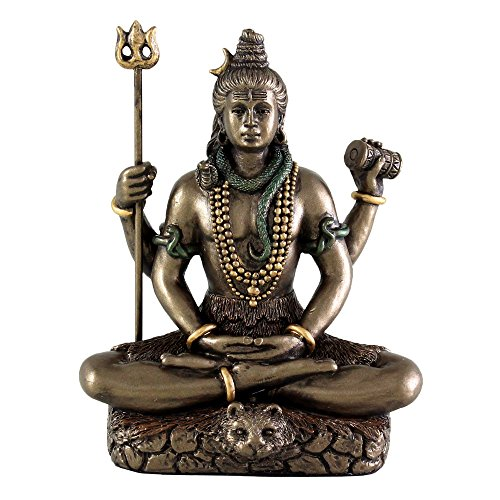 Hindu Gott Lord Shiva in Meditation Bronze Finish Figur Skulptur Statue