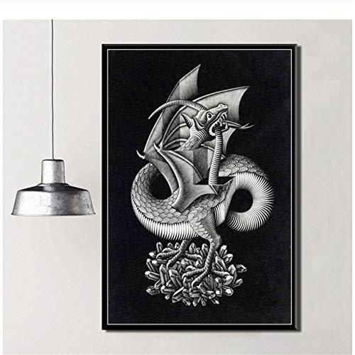 sjkkad Escher Surreal Artwork Moderne abstracte kunst schilderij zijde canvas poster muur wooncultuur druk op canvas -60x80cm geen lijst