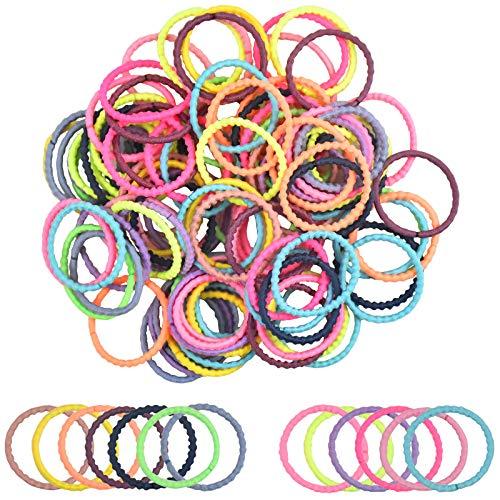 Jinlaili 100 STKS kleurrijke haarelastieken voor meisjes, elastieken haarbanden Baby haarbanden touwen, dunne haarbanden…