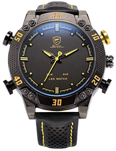 Shark Herren Analog Digital Armbanduhr XXL mit LED Anzeige SH263 Gelb