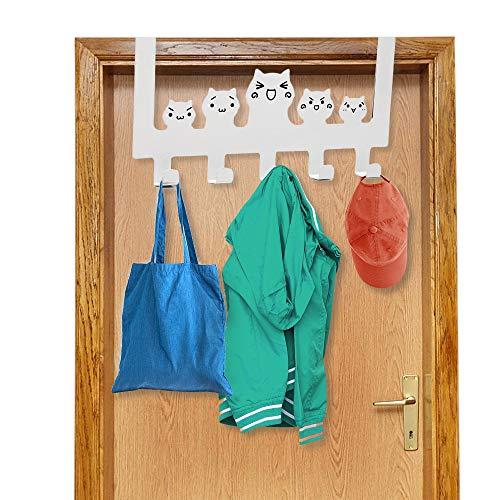 Kitchen-dream Perchero para puerta,gancho para puerta blanco,gancho para puerta de hierro sin perforaciones,perchero con 5 ganchos, para colgar ropa, sombreros, toallas y abrigos