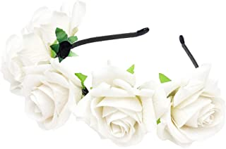 Rose Headband Flower Wreath Crown Hair Bands Big Floral Garland Christmas Hair Hoop Women Girls Hairband Party Decoration Headdress Cosplay Costume Headwear Handmade Headpiece Hair Accessories White