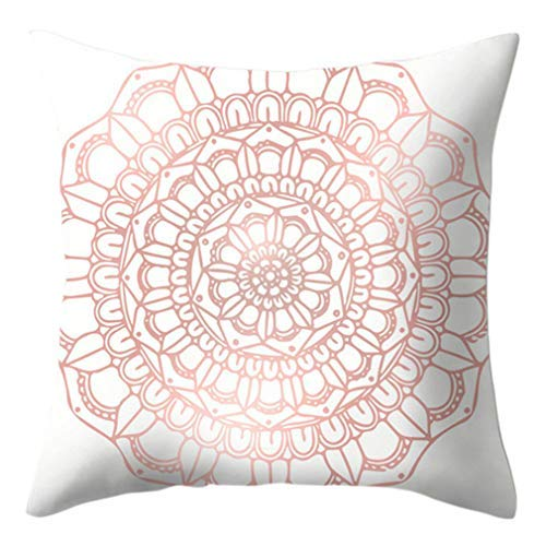 Funda de cojín cuadrada de estilo étnico, color rosa, funda de cojín para sofá, cama, sofá, decoración del hogar, funda de almohada decorativa de 45,7 x 45,7 cm, 14 #