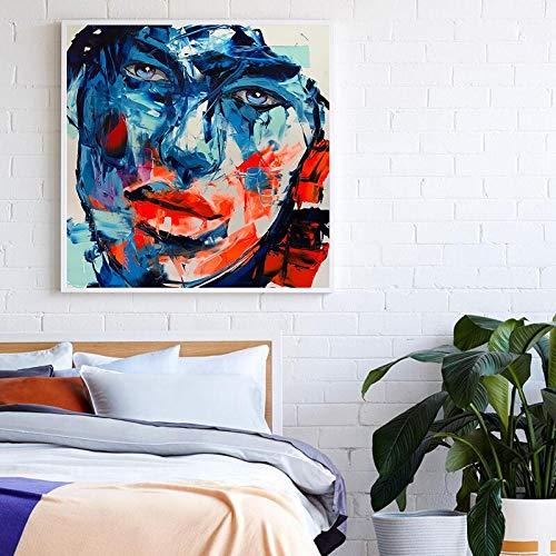 Wfmhra Cartel Abstracto de la Lona de la Cara Femenina para el Pasillo del Dormitorio café Sala de Estar Pintura artística impresión decoración de la Pared Moderna 50x50 cm sin Marco