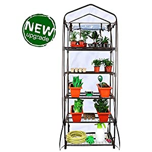 Worth Garden 5 Tier Brown Pequeño invernadero Cubierta de PVC transparente y cremallera Planta Casa Papel de aluminio Invernadero Invernadero Invernadero 69 x 49 x 193 cm