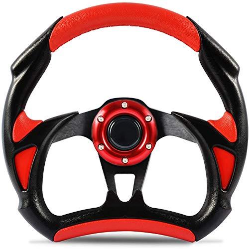 Golf Cart Steering Wheel for EZGO Club Car Yamaha Universal Steering Wheel EZGO Steering Wheel Club Car Cool Racing Style Steering Wheel(Red)