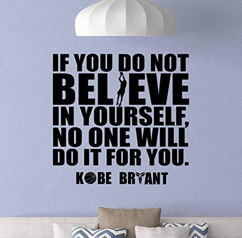 Calcomanías de pared con cita de Kobe Bryant con frase 'Believe in Yoursel', póster de baloncesto, regalo para el gimnasio, fitness, decoración deportiva para la pared del hogar para sala de estar
