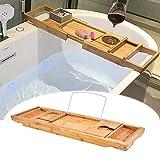 XHLLX Bañera Caddy Antiguo bañera bambú Ajustable Celular Fruta Tableta Bandeja de Alta Capacidad almacén Natural
