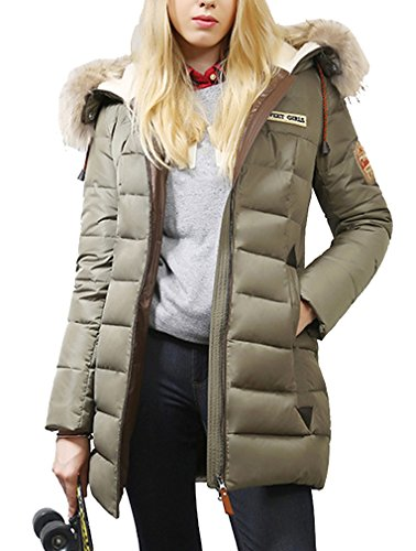 BININBOX® Damen Mantel Winterjacke Daunenmantel Steppjacke Kapuzen Daunenjacke Fell Parka lang (34(Hersteller Gr.S), Grün)