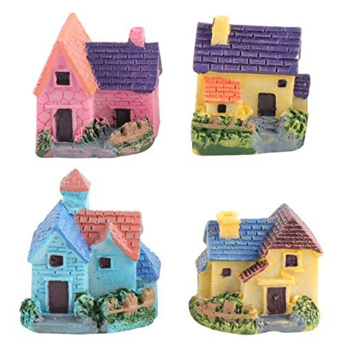 WINOMO 4pcs Dollhouse Bonsai Handwerk Miniaturgarten Harz Landschaft DIY Villa Decor
