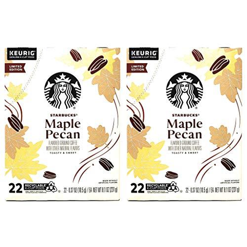 Starbucks Coffee Maple Pecan K Cups Coffee Pods - 44 K Cups Total - Pack of 2 Boxes - 22 K Cups Per Box - Limited Edition Maple Pecan Starbucks Coffee - For Use of Keurig Coffee Makers
