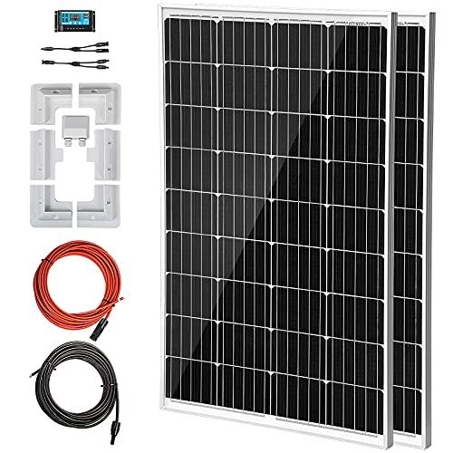 VEVOR Kit Pannello Solare Monocristallino da 240W 2PZ, Kit Fotovoltaico in Off-grid Come Sistemi di Pompaggio dell'Acqua ed Energia Remota, Regolatore di Carica Solare da 20A Tensione 12V / 24V Auto