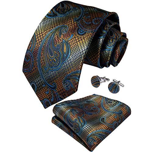 WOXHY Cravate Homme Ensemble de Cravate de Bouton de Manchette de Mariage de Mouchoir de Soie de Paisley d'or Bleu