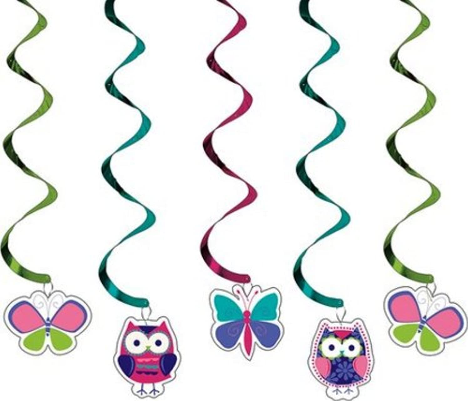 Creative Converting 5-Count Dizzy Danglers Hanging Party Decorations, Owl Pal - 035624