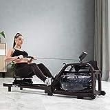 Wasserrudergerät für Heimgymnastik, Wasserrudergerät Wasser Widerstand mit LCD-Monitor, Indoor-Cardio-Gerät Workout Sports Fitness (Braun)
