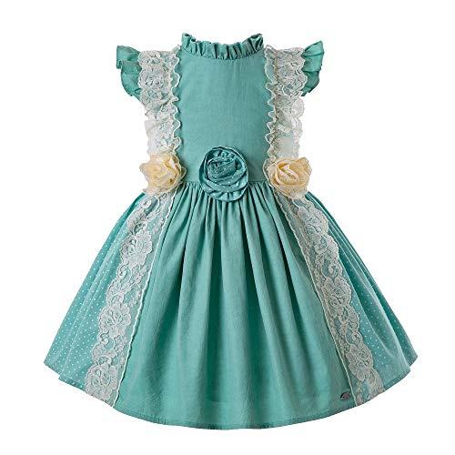 Ju petitpop Lajinirr Vestido de Encaje de Ganchillo con Banda de Encaje Colorete, Vestidos niñas celebración (5 años, Mint_1)