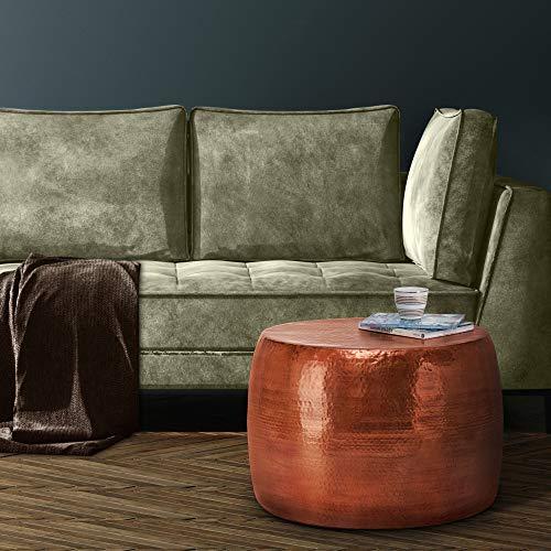 WOMO-DESIGN Handgearbeiteter Couchtisch Orient rund Ø 53 x 41 cm Kupfer aus Aluminium - Flacher Hammerschlag Design Sofatisch Metall - Beistelltisch Wohnzimmertisch Loungetisch Tisch für Wohnzimmer