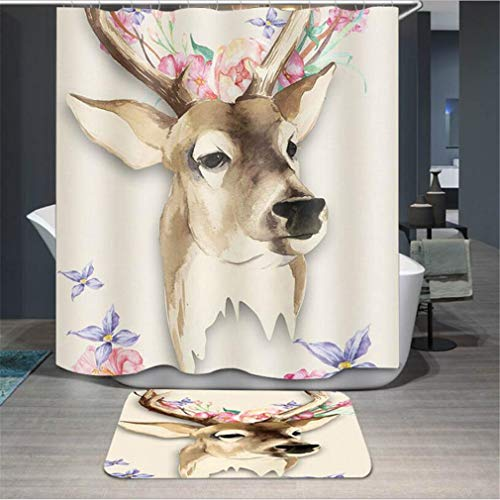 Baisheng Waterproof Mold Proof Resistant Bad Vorhang Waschbar Duschvorhang Polyester Stoff 3D Mehltau Beweis Vorhang mit Haken (Hirsch REH Ölgemälde Hirsch 6-47 * 78Inch/120 * 200cm)
