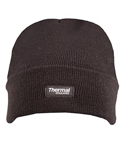 Bonnet en tricot avec doublure en polaire et isolation thermique Unisexe - Noir - Taille unique