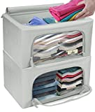 Sorbus Storage Bins Boxes, Foldable Stackable Container Organizer Set with Large Clear Window & Carry Handles, Bedroom Closet Organization for Bedding, Linen, Clothes (Gray)