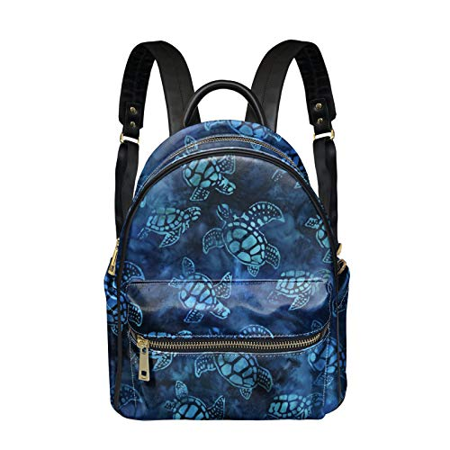 Woisttop Turtle Print Small Backpack for Women Leather Rucksack Mini Backpack Ladies Rucksack PU Leather Casual Travel Backpack Daypack