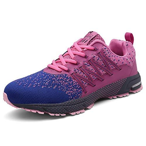 SOLLOMENSI Laufschuhe Damen Herren Sportschuhe Straßenlaufschuhe Sneaker Joggingschuhe Turnschuhe Walkingschuhe Schuhe 35 EU A Pink