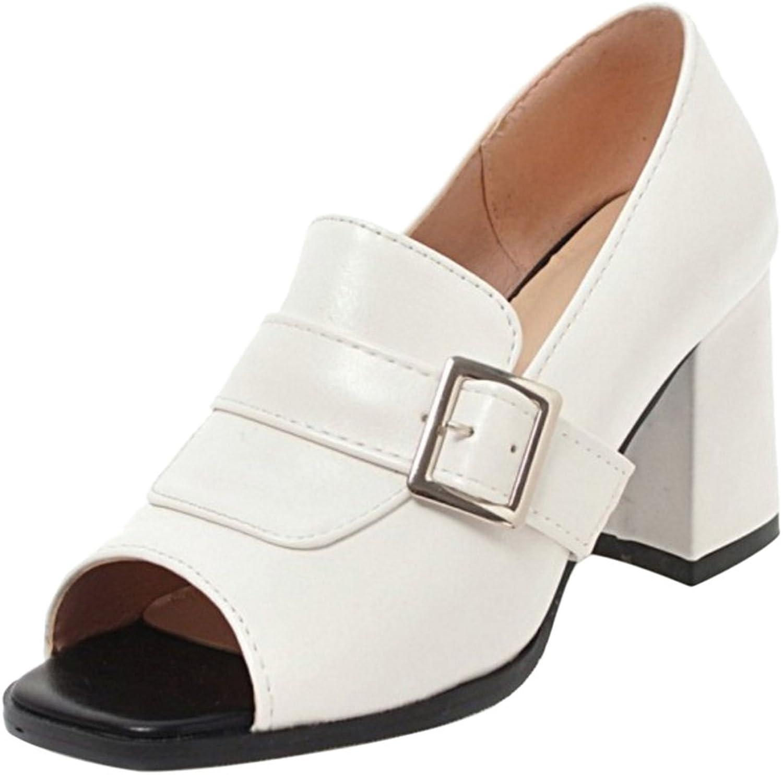 TAOFFEN Women's Peep Toe Pumps Court shoes