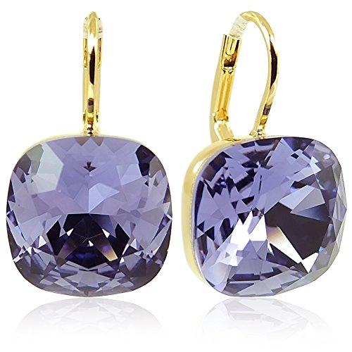 Ohrringe mit Kristallen von Swarovski® Lila Gold NOBEL SCHMUCK