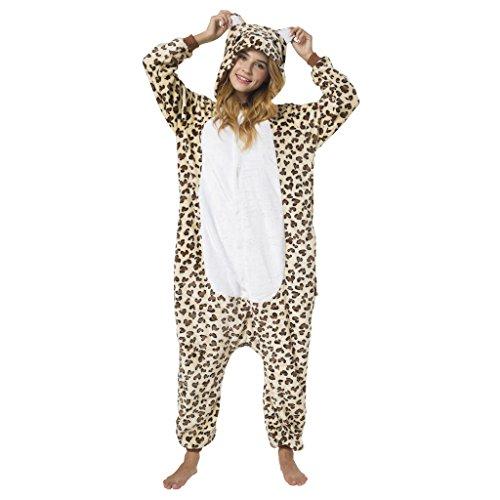 Katara 1744 - Leopard Kostüm-Anzug Onesie/Jumpsuit Einteiler Body für Erwachsene Damen Herren als Pyjama oder Schlafanzug Unisex - viele Verschiedene Tiere