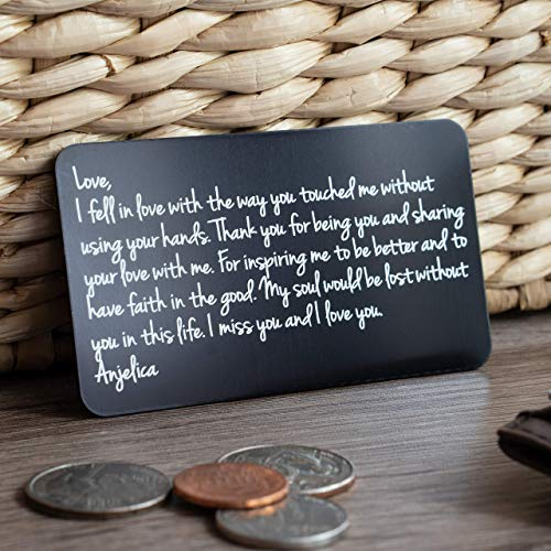 Create Your Own Personalized Gifts for Men with this Metal Wallet Insert - Engraved Metal Wallet Love Note for Husband or Boyfriend Anniversary, Deployment Gifts for Him, Made to Order in the USA