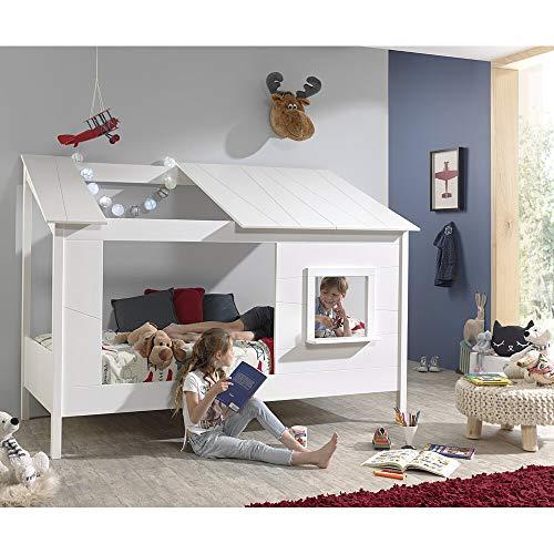 Lomadox Hausbett Kinderbett Baumhaus Liegefläche 90 x 200 cm Spielbett mit Dach