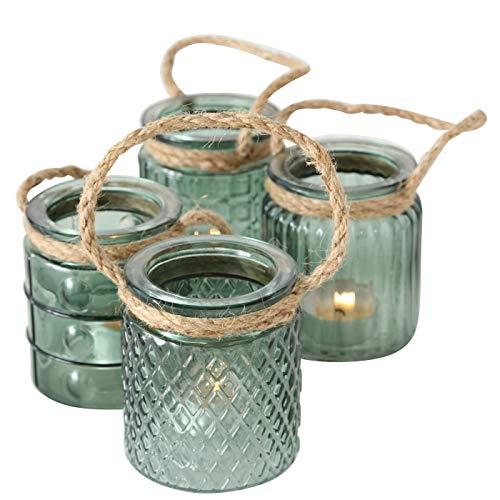 ReWu Maritim Teelichthalter Windlicht Kerzenhalter aus Glas in Grün mit Kordel Halter