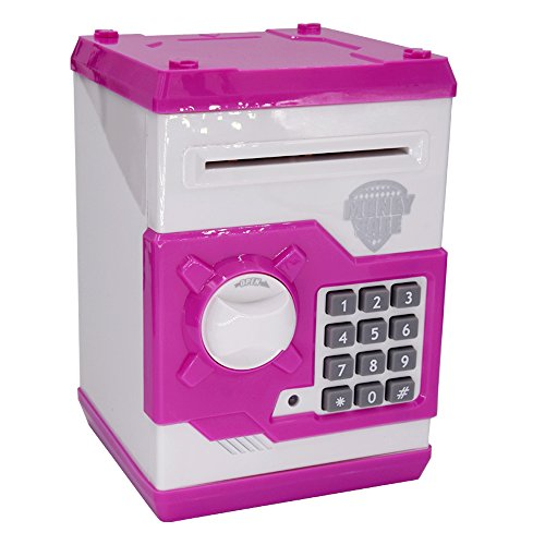 FEENM Updated Code Electronic Piggy Banks Mini ATM Electronic Coin Bank Coin Box for Kids with Electronic Lock & Secret Code to Unlock with Password Great Gift Toy for Children Kids(Pink & White)